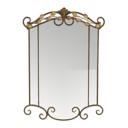 Welcome Home Accents - Sophia Metal Wall Mirror - With an eye-catching two tone color set up this two tone rectangular decorative metal wall mirror will add elegance to any part of your house. An oil rubbed bronze finish is complimented by  dusted gold leaf inserts. Hooks on back for easy hanging. No assembly required.  Wipe with a dry cloth.