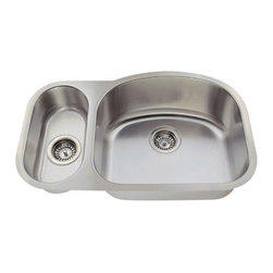PolarisSinks - Polaris PR925 Offset Double Bowl Stainless Steel Sink - Stainless Steel is the most popular choice for today's kitchens due to its clean look and durability. The beautiful brushed satin finish helps to hide small scratches that may occur over the lifetime of the sink. Our Stainless Steel sinks are made from high quality 16 gauge steel, which is 25% thicker than 18 gauge. Most models are made of one piece construction that ensures the sturdiest kitchen sink you will find. Our sinks are made from 304 grade stainless steel that contains 18% chromium and 8-10% nickel and are guaranteed not to rust. Each sink is fully insulated and has a sound dampening pad. Our stainless steel sinks are backed by a Limited lifetime warranty. Each sink comes with a cardboard cutout template and mounting hardware.