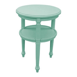 EuroLux Home - New Side Table Light Blue Painted Hardwood Round - Product Details