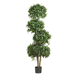 Nearly Natural - 69 in. Sweet Bay Topiary w 4 Balls Silk Tree - Welcome guests with this light-hearted tree. Plush blooms adorn this unique tree. Features over 2600 lush bay leaves. Construction Material: Polyester material, Iron wire, Wood , Plastic. 23 in. W x 23 in. D x 69 in. H ( 15 lbs. ). Pot Size: 7 in. W x 6 in.HWelcome guests into your home with this light-hearted Sweet Bay Topiary silk tree. A quartet of plush blooms adorns this uniquely styled Mediterranean creation. Over twenty-six hundred lush striking bay leaves embellish this expertly crafted work of art. A token of honor and appreciation, this stunning masterpiece makes an extraordinary gift idea for that special someone. At 69 inches high, you can display it proudly in any room of your home.