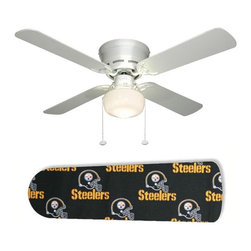 """Pittsburgh Steelers 42"""" Ceiling Fan and Lamp - 42-inch 4-blade ceiling fan with a dome lamp kit that comes with custom blades. It has a white flushmount fan base. It has an energy efficient 3-speed reversible airflow motor for year long comfort. It comes with complete installation/assembly instructions. The blades can be cleaned with a damp cloth. It is made with eco-friendly/non-toxic products. This is brand new and shipped in the original box. This is not a licensed product, but is made with fully licensed products. Note: Fan comes with custom blades only."""