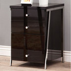 Coaster - Clayton Cabinet, Black/Nickel - Perfect for a modern home office, this desk collection has a plenty of work space in a high gloss black finish and a contemporary nickel base. Maximize the space in your office with this simple and stylish desk. Add a matching bookcase and cabinet to complete this modern look.