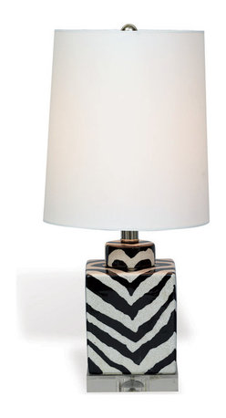 """Kathy Kuo Home - Kenya Modern Black and White Zebra Print Tea Jar Table Lamp- 21""""H - When it comes to exotic chic, there's nothing like a monochrome animal print lamp to add a little extra interest.  This small porcelain zebra stripe lamp creates the perfect compliment to a contemporary exotic or even Hollywood Regency inspired space."""