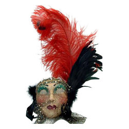 Si Lucia - Si Lucia Lady With Plume Mask - Si Lucia Lady With  Plume Mask  -  Size: 20L x 15W x 5H  inches  -  Created By Premiere Venetian Mask Maker Franco  -  Made using the exact process used in Venice since 1436  -  Quality and design are unsurpassed  -   Only the finest materials are used  -  Made by hand in Italy each mask comes With  a Si Lucia hangtag  -  Can Be Worn  -  Perfect For Home Decor