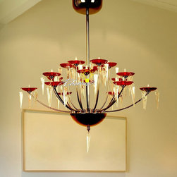 KELLO Modern 18 Simple Red Shades Crystal Chandelier - KELLO Modern 18 Simple Red Shades Crystal Chandelier