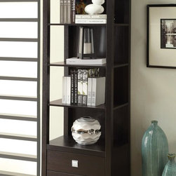 Coaster | Transitional Cappuccino Media Tower - Finished in cappuccino, the Transitional Cappuccino Media Tower has plenty of storage space for all your media components and devices.