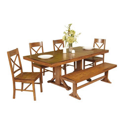Walker Edison - Walker Edison 6-Piece Millwright Wood Dining Set in Antique Brown - Walker Edison - Dining Sets - C60W2AB - This charming dining set is the perfect addition to any dining room. Set is designed to seat six but with the self-contained butterfly leaf will easily accommodate larger gatherings or a growing family. The attractive antique brown finish and distressed detailing create a warm countryside feel and the sound construction will last for years to come.