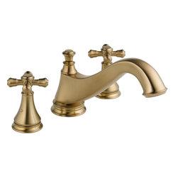 Delta Cassidy 3-Hole Roman Tub Trim - Low Arc Spout - Delta Cassidy 3-Hole Roman Tub Trim - Low Arc Spout, Champagne Bronze™ Finish, T2795-CZLHP H695CZ