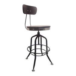 YOSEMITE HOME DECOR - Bar Stool with BackRest in Black - This reproduction of a classic vintage draftsman's stool is perfect for any dining or work space. The combination and warmth of the black solid mango wood seat and back trimmed with polished steel and the satin black metal base make a stunning statement. Just spin the seat to adjust the height from 24 inches to 30.5 inches whiich allows for use as a counter height or bar stool while the metal footrest provides additional stability and comfort. Made by skilled craftsmen in India. Some assembly required.