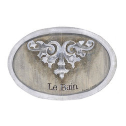 "Stupell Industries - Tan and Beige Design Le Bain Oval Bath Plaque - Decorative and fuctional. Made in USA. MDF Fiberboard. Original Stupell art. Approx. 11 in. W x 15 in. L. 0.5 in. ThickWhat better way to add class to your bath than with a wall plaque by from ""The Stupell Home decor Collection."" Whether it is the black and white ""la toilette,"" the black oval ""powder room,"" or the rectangle crest ""le bain,"" one thing stays the same: each plaque is hand finished, made in the USA, and comes with colorful grosgrain ribbon for hanging. Bath plaques from ""The Stupell Home decor Collection"" are meticulously crafted by a variety of in-house artists and come on ½"" thick MDF fiberboard."