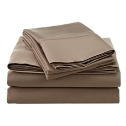 1200 Thread Count Egyptian Cotton Full Taupe Solid Sheet Set - 1200 Thread Count oversized Full Taupe Solid Sheet Set 100% Egyptian Cotton
