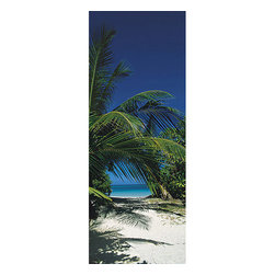 Way to the Beach Wall Mural - Dream up an island escape with this gorgeous door poster of a palm tree swaying over a white sand path leading to the blue ocean.