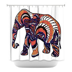 DiaNoche Designs - Shower Curtain Artistic - Elephant 4 - DiaNoche Designs works with artists from around the world to bring unique, artistic products to decorate all aspects of your home.  Our designer Shower Curtains will be the talk of every guest to visit your bathroom!  Our Shower Curtains have Sewn reinforced holes for curtain rings, Shower Curtain Rings Not Included.  Dye Sublimation printing adheres the ink to the material for long life and durability. Machine Wash upon arrival for maximum softness. Made in USA.  Shower Curtain Rings Not Included.