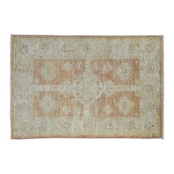 Oriental Rug, 3'X4' Garden Design Peshawar Hand Knotted Stone Wash Rug SH9033 - Hand Knotted Oushak & Peshawar Rugs are highly demanded by interior designers.  They are known for their soft & subtle appearance.  They are composed of 100% hand spun wool as well as natural & vegetable dyes. The whole color concept of these rugs is earth tones.