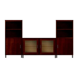 Howard Miller Custom - Jeffrey Cabinet in Newport Cherry - This cabinet is finished in Newport Cherry on select Hardwoods and Veneers, with Antique Bronze hardware. Flat profile top and metal leg base. Hardware: bar pulls on doors. Features soft-close doors and metal shelf clips. Console:. 2 doors with ribbed Glass. 2 adjustable interior shelves. Tower:. 2 flat panel doors. 4 adjustable interior shelves. Simple assembly required. Console: 47 in. W x 21 3/4 in. D x 29 in. H. Tower: 24 in. W x 15 3/4 in. D x 53 in. H. Overall: 95 in. W