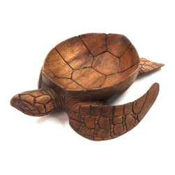 WorldBazzar - Hand Carved Mahogany Wood Nautical Turtle Bowl - Absolutely gorgeous hand carved and finished mahogany turtle bowl. It is amazingly detailed and perfect for any kitchen or home, especially for turtle lovers! Measuring 12 inches long, 9.5 inches wide, and 3 inches tall, this is a perfect size bowl! It would make a great gift for any ocean life lover!