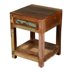 Sierra Living Concepts - Rustic Reclaimed Wood Distressed Square End Table with Drawer - Bring home the combination of Rustic beauty and practical usability in form of this Rustic Reclaimed Wood Distressed Square End Table with Drawer.