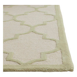 Safavieh - Annette Hand Tufted Rug, Ivory / Light Green 4' X 6' - Construction Method: Hand Tufted. Country of Origin: India. Care Instructions: Vacuum Regularly To Prevent Dust And Crumbs From Settling Into The Roots Of The Fibers. Avoid Direct And Continuous Exposure To Sunlight. Use Rug Protectors Under The Legs Of Heavy Furniture To Avoid Flattening Piles. Do Not Pull Loose Ends; Clip Them With Scissors To Remove. Turn Carpet Occasionally To Equalize Wear. Remove Spills Immediately. Bring classic style to your bedroom, living room, or home office with a richly-dimensional Safavieh Cambridge Rug. Artfully hand-tufted, these plush wool area rugs are crafted with plush and loop textures to highlight timeless motifs updated for today's homes in fashion colors.