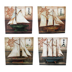 Set Of 4 Sailboat Painted Canvas Wall Hangings Nautical - This set of four stretched canvas wall hangings is great for people who love sailing. Each wall hanging features a different style of sailboat model, sitting on a shelf, with a ship`s wheel and a lighthouse poster in the background. Each painting is 11 3/4 inches square. They look great displayed together or separately.