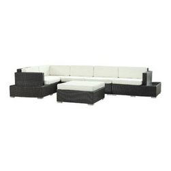 """LexMod - Harbor 6 Piece Outdoor Patio Sectional Set in Espresso White - Harbor 6 Piece Outdoor Patio Sectional Set in Espresso White - Immerse yourself in the depth of new surroundings as you become acquainted with the art of making socially innovative gatherings. Catch the perfect angle for boundless views of reality with this easily reconfigured outdoor set. Expand horizons and open new vistas as hidden opportunities rise to the surface. Set Includes: One - Secret Harbour Outdoor Wicker Patio Coffee Table One - Secret Harbour Outdoor Wicker Patio Coffee Table Cushion One - Secret Harbour Outdoor Wicker Patio Corner Section One - Secret Harbour Outdoor Wicker Patio Left Arm Section One - Secret Harbour Outdoor Wicker Patio Right Arm Section Two - Secret Harbour Outdoor Wicker Patio Armless Sections Synthetic Rattan Weave, Powder Coated Aluminum Frame, Water & UV Resistant, Machine Washable Cushion Covers, Easy To Clean Tempered Glass Top, Ships Pre-Assembled Coffee Table Dimensions: 35.5""""L x 35.5""""W x 12""""H Armless Section Dimensions: 29.5""""L x 35.5""""W x 28""""H Corner Section Dimensions: 35.5""""L x 35.5""""W x 28""""H Left Arm Section Dimensions: 35.5""""L x 45""""W x 28""""H Right Arm Section Dimensions: 35.5""""L x 45""""W x 28""""H Seat Height: 12""""HBACKrest Height: 28""""H Armrest Dimensions: 4""""L x 23.5""""H Cushion Depth: 4""""H Overall Product Dimensions: 116""""L x 116""""W x 28""""H - Mid Century Modern Furniture."""