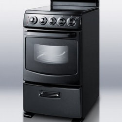 """Summit - White Pearl Series REX204BL 20"""" Freestanding Electric Range with 4 Burners  2.62 - The Summit REX204 brings a gourmet experience to the household kitchen At just 20 inches wide it fits easily in apartments and other small spaces while offering one of the largest oven cavities for its size in the industry The body is constructed ent..."""