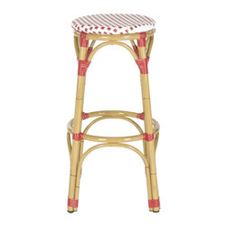 Safavieh - Kipnuk Stool Red/White (INDOOR/OUTDOOR) - Raise a glass to country and coastal decorating with the red and white Kipnuk indoor-outdoor barstool from Safavieh. A colorful addition to a kitchen or patio bar, the pretty Kipnuk is inspired by classic European bistro stools and crafted of white PE wicker and aluminum faux bamboo for easy care.
