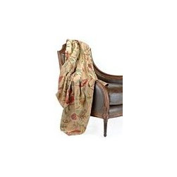 "John Richard 50""H X 60""W Throw Tan Cotton Velvet - 50""H X 60""W Tan Cotton Velvet With Hand Embroidered Floral Motif"