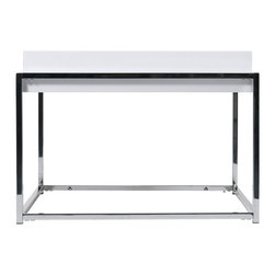 Euro Style - Euro Style Greta Side Table // White Lacquer/Chrome - This is a square top table. 3 feet wide and 3 feet deep. The high gloss lacquer provides that always fresh look you expect with a high gloss surface. It has a chromed steel frame and it s the ideal stage for drinks, snacks and nic nacs.