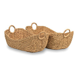18KARAT - Hyacinth Oval Basket Set - These handcrafted baskets are perfect for organization and storage. Made from water hyacinth, a fast-growing sustainable material.