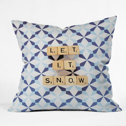 DENY Designs - DENY Designs Happee Monkee Let It Snow Throw Pillow - Wanna transform a serious room into a fun, inviting space? Looking to complete a room full of solids with a unique print? Need to add a pop of color to your dull, lackluster space? Accomplish all of the above with one simple, yet powerful home accessory we like to call the DENY Throw Pillow! Available in four sizes, our throw pillow is made from a medium weight woven polyester with a hidden zipper and removable bun insert.
