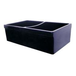 "Whitehaus Collection - Whitehaus 33 Quatro Alcove Reversible Sink, Double Bowl, Black (WHQDB532-BL) - Whitehaus WHQDB532-BL 33"" Quatro Alcove Reversible Sink, Double Bowl, Fireclay, Black"