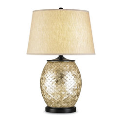 Currey and Company - Currey and Company 6380 Alfresco Traditional Table Lamp - This lamp commands attention. The base is covered by little Capiz shells in a fish scale pattern. The shade is an oatmeal color linen.