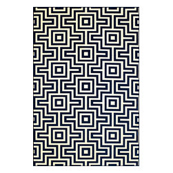 "Momeni Rug - Momeni Rug Baja 6'7"" x 9'6"" BAJ10 Navy BAJA0BAJ10NVY6796 - Create the ultimate indoor/outdoor oasis of your dreams with the Baja Collection. Lively patterns, bright and bold color choices and long lasting durability make these rugs ideal for the sun room or patio. Exciting colors and gorgeous graphic patterns make the Baja Collection not to be missed."
