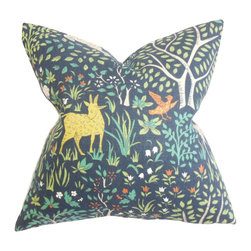"""The Pillow Collection - Elihu Floral Pillow Blue 18"""" x 18"""" - This decor pillow is all you need to add a fun and quirky touch to your indoor space. This accent pillow features a mix of floral and animal details on a dark blue background with a few shades of green, orange, blue and white. Pair this square pillow with solids to balance out the look in your room. Made with fine quality 100% cotton fabric. Hidden zipper closure for easy cover removal.  Knife edge finish on all four sides.  Reversible pillow with the same fabric on the back side.  Spot cleaning suggested."""