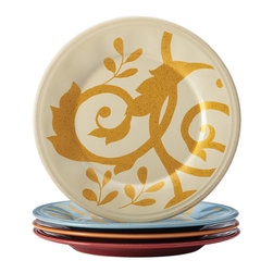 Rachael Ray - Multicolor Gold Scroll Appetizer Plate Set - Crafted from durable stoneware, these vibrant plates with scroll detail add chic style to the tabletop design.   Includes cream, blue, orange and red plates 6'' diameter Stoneware Dishwasher-safe Imported