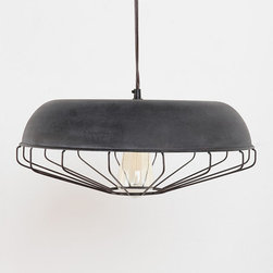 Caged Pendant - Pendant lighting is great in kids' spaces because you don't have to worry about it getting knocked off a table or tipping over. I love the rustic metal finish of this fixture.