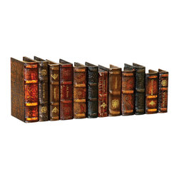 Sterling Industries - Leatherbound Books, Set of 12 - This Sterling unique decorative accessory features set of twelve lather bound books display. Constructed of medium density fiberboard and paper material. This classically stylish lather bound books adds finishing touch to your room. Perfect for the home or office decoration. Books that are used solely for their exterior appearance, like leather bound decorative hardbacks, must be in excellent shape in order to be suitably displayed. It brings creativity and imagination with touch of elegance.