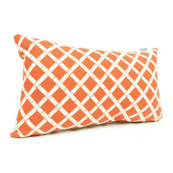 Majestic Home - Outdoor Burnt Orange Bamboo Small Pillow - This pretty bamboo print will liven up your favorite casual setting — indoors or out. The durable fabric's been treated with UV protection so that it can take a sun beating and still look beautiful.