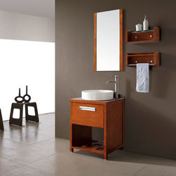 AVANITY COSMO 24 in. Bathroom Vanity - Small in size yet big on style, the Cosmo vanity offers a space-saving solultion that is perfect for most bathroom decor. This bathroom vanity features an open shelf that is perfect for towels and other bathroom essentials, while the storage cabinet offers a coverup storage. The coordinating mirror and wall shelves adds to the set and completes this collection.