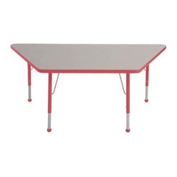 "Ecr4kids - Ecr4Kids Adjustable Activity Table - Trapezoid 30"" X 60"" Elr-14119-Grd-Tb Red - Table tops feature stain-resistant and easy to clean laminate on both sides. Adjustable legs available in 3 different size ranges: Standard (19""-30""), Toddler (15""-23""), Chunky (15""-24""). Specify edge banding and leg color. Specify leg type."