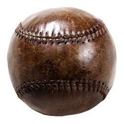 Kathy Kuo Home - Silver dome Vintage Leather Baseball Tabletop Shelf Decor - The perfect accent to any space in need of a masculine touch, this vintage-inspired leather baseball is a great display piece. Recall your own glory days or just enjoy the feel of the crackled leather in your palm, when you place this decorative baseball in your home.