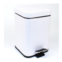 Gedy - Square Faux Leather Waste Bin With Pedal - Stylish, decorative small square step waste basket. Waste container and lid are made out of stainless steel with a faux leather cover in a silver, gold, or pearl white finish. Trash bin pedal is made out of stainless steel with a polished chrome finish. Made in Italy by Gedy. Small square step waste bin. Made out of stainless steel and faux leather. Available in silver, gold, or pearl white finish. From Gedy Marrakech Collection.