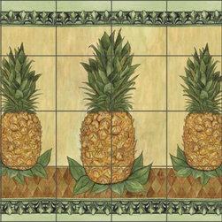 """Artwork On Tile - Mullen Pineapple Fruit Ceramic Tile Mural Backsplash 25.5"""" x 17"""" - SM040 - * 25.5"""" w x 17"""" h x .25"""" Ceramic Tile Mural on Architectural Grade, 4.25"""" Tile w/Satin Finish"""
