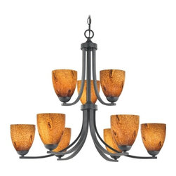 Design Classics Lighting - Modern Chandelier with Brown Art Glass in Matte Black Finish - 586-07 GL1001MB - Contemporary / modern matte black 9-light chandelier. Takes (9) 100-watt incandescent A19 bulb(s). Bulb(s) sold separately. UL listed. Dry location rated.