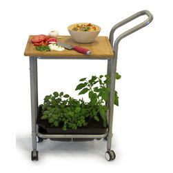 Architec Houseares™ - Homegrown Gourmet Products™ Harvest Kitchen Cart - A Kitchen to Table Kitchen Cart with Self-Watering Herb Planter, Herb Snips & Cutting Board.
