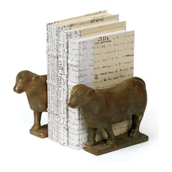 Pair of Lamb Book End - Lamb Book End are made from resin and has vintage painted finish.Get a new kind of trophy for the study with these bookends.Sold as set of 2.