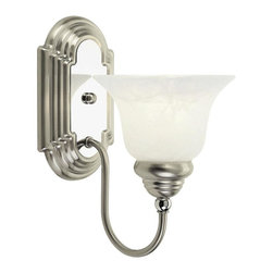 Livex Lighting - Livex Lighting-1001-Belmont - One Light Bath Bar - Antique Brass Finish with White Alabaster Glass