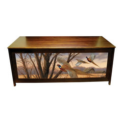 """Kelseys Collection - Blanket chest - Prairie Wings - Pine blanket chest or hope chest with pheasants, from a Millette painting called """"Prairie Wings"""" giclee canvas printed on three sides. Also functions as a bench. High quality craftsmanship and famous artwork make unique home decor furniture. Lid is strengthened with 3 strakes.  Measures 48x19x20.  The lid is connected with 3 L shaped hinges which are connected with five screws.  Easy to assemble in 45 minutes, weighs 40 pounds. Two piston dampers soften the lid closing to protect fingers.The Pheasant LODGEBOX  is part of the LODGEBOX family of chests and products that  Combine Great Art and Function. Its pine frame and top have an oil stained finish. Giclee* Canvas Art prints are stretched and glued on three  panels, then enhanced with a light glaze to protect and embellish the crispness of the art.  The art is secured under Exclusive Licenses with world famous and recognized artists."""