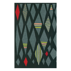 Domestic Construction - Moon Dance Floor Mat, Small - This original design is reminiscent of midcentury modern designs that have been all the rage in recent years. It's low profile and rubber backing make it perfect for using inside and would add color and style to an entryway. You can even clean this in the washing machine!