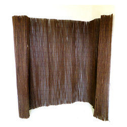 Master Garden Products - Willow Fence Screen, 5' X 14' - Willow fencing is ideal  for screening garden areas. Use this ecologically sustainable willow fence to create a natural-looking screen fencing  in your home and garden, add privacy to a porch or patio, or create soft shaded areas by draping this versatile fencing over an arbor and pergolas. Unlike other willow rolled fences in the market, we use black nylon coated galvanized wire to weave our fences together to prevent rust. The black color of the nylon coated wire greatly improves the look of  our willow fences, rather than the rusty metal looking fences offered by other companies in the market. Shipped in rolled, easy installation just unroll and tie them to the supporting structure.